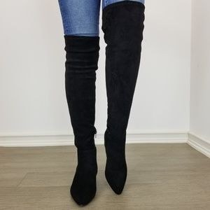 Shoes - Pointy toe over the knee black boots Faux Suede